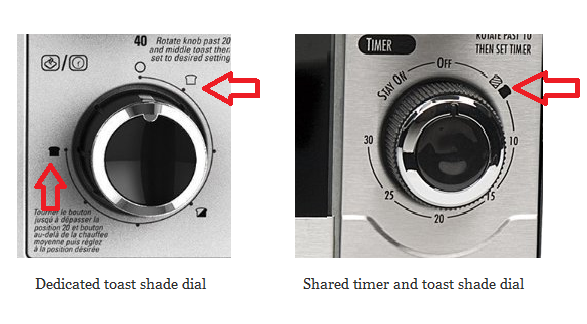toaster oven toast shade dial